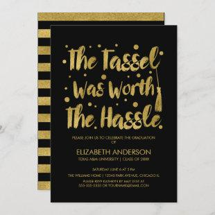 Gold Tassel Worth The Hassle Graduation Party Card