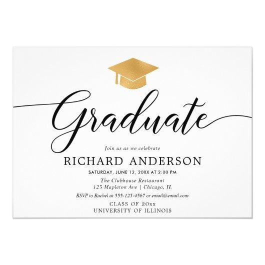 Gold white graduation party, simple calligraphy