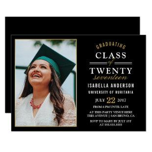 Gold & White Typography on Black | Graduate Photo Invitation