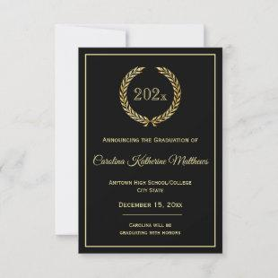Gold Wreath Black Graduation Announcement