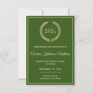 Gold Wreath Green Graduation Announcement
