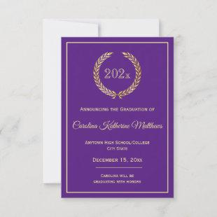 Gold Wreath Purple Graduation Announcement
