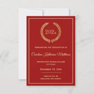 Gold Wreath Red Graduation Announcement