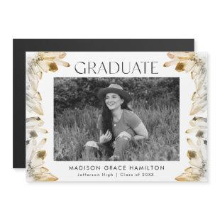 Golden Amber Watercolor Crystals Photo Graduation Magnetic Invitation