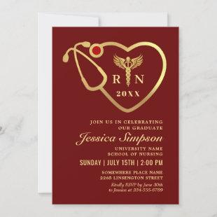 Golden Modern Nursing School Graduation Party  Invitation