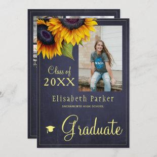 Golden sunflowers PHOTO collage graduation party Invitation