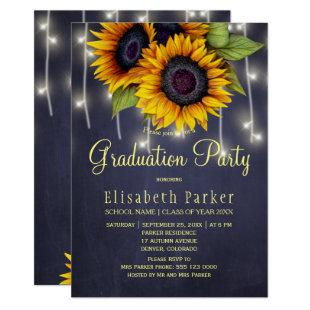 Golden sunflowers rustic lights graduation party invitation
