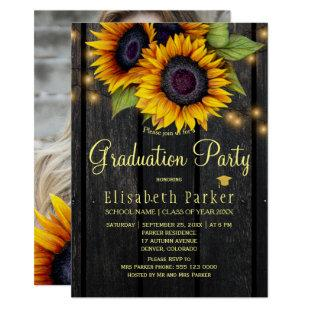 Golden sunflowers rustic PHOTO graduation party Invitation