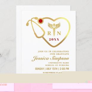 Golden White Modern Nursing School Graduation Invitation