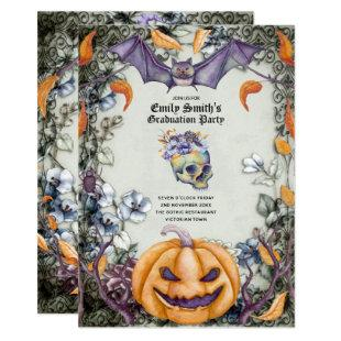 Goth Purple Skulls Halloween/Muertos Graduation Invitation