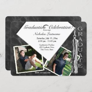 Grad Cap and Tassel Twin Photo Invitation