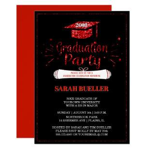 Grad Cap Red Glitter 2018 Graduation Party Invitation