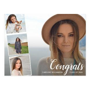 Grad Photo Collage Graduation Announcement Postcard