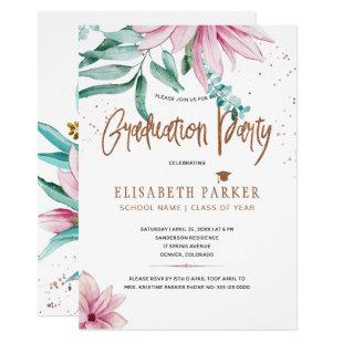 Grad pink floral copper glitter graduation party invitation