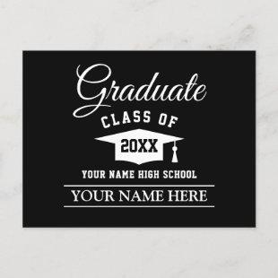 Graduate announcement postcard for him or her