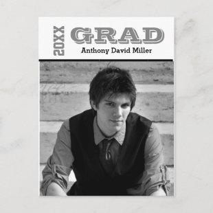 Graduate Black/White - Postcard Invitation