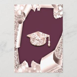 Graduate CAP Bachelorette Party Rose Burgundy Invitation