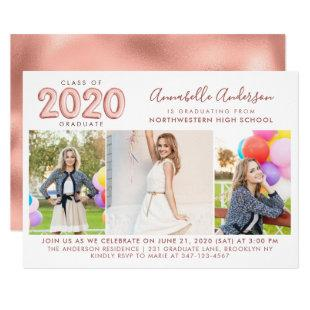 Graduate Class 2020 Rose Gold Balloon Graduation Invitation