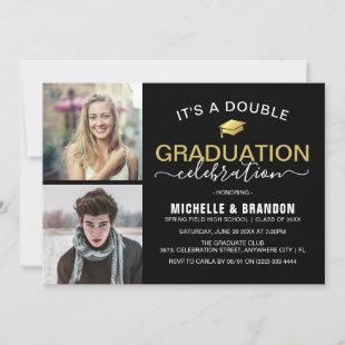 Graduate Double Celebration Graduation Party Photo Invitation
