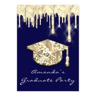 Graduate Drips Gold Cap 3D Glam Blue Navy Invitation