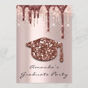 Graduate Drips Rose Gold Cap3D Effect Glam Party