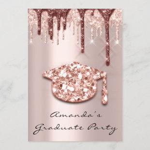 Graduate Drips Rose Gold Cap 3D Effect Glam Party Invitation
