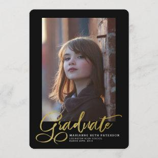 Graduate Gold Script Photo Graduation Announcement