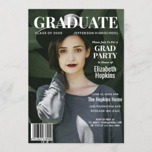 Graduate Magazine Cover Photo Graduation Party Invitation