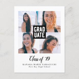 Graduate Modern Block Photo Collage Graduation Announcement Postcard