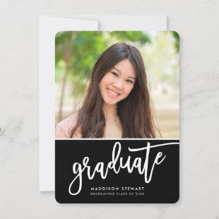 GRADUATE PARTY chic photo simple calligraphy black Thank You Card
