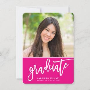 GRADUATE PARTY chic photo simple calligraphy pink Thank You Card
