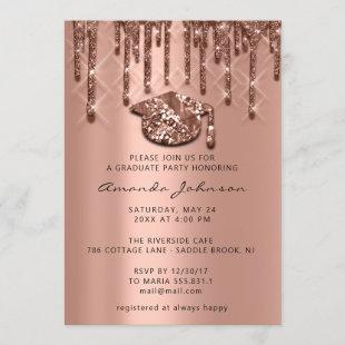 Graduate Party Drips Rose Gold Cap 3D Effect Glam Invitation