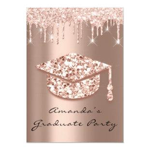Graduate Party Drips Rose Gold Cap 3D Glamy Invitation