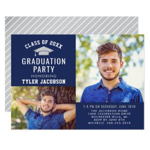 Graduate Party Photo Invitation | Navy and Silver