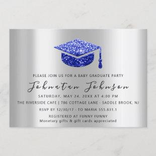 Graduate Party Student Silver Gray Royal Blue Simp Invitation