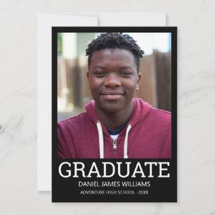 Graduate Photo Minimalist Black Frame White Script Announcement