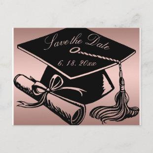Graduate Rose Gold Grad Cap Diploma Save the Date Announcement Postcard