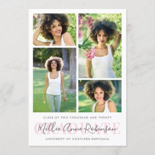 Graduate Script 4 Photos Graduation Announcement