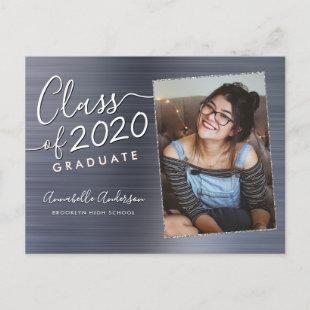 Graduate Silver Brushed Metal Photo Graduation Announcement Postcard