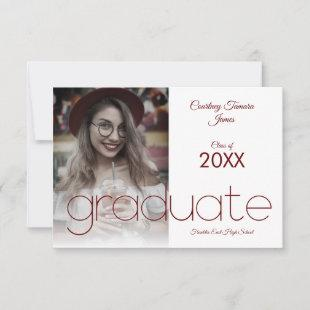Graduate Simple Photo Modern Red Typography Script
