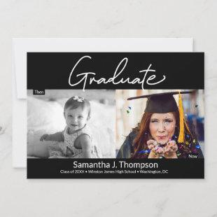 Graduate Then and Now high school Grad photo Announcement