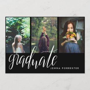 Graduate Typography Three Photos Graduation Party Invitation