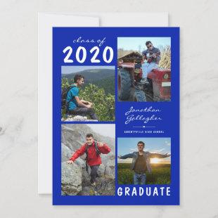 Graduation 2020 4 Photo Handwritten Royal Blue Announcement
