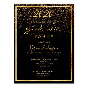 Graduation 2020 party black glam gold invitation postcard