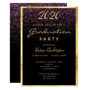 Graduation 2020 party chic black confetti gold invitation