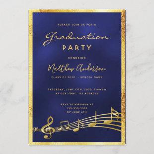 Graduation 2020 party glam blue music gold