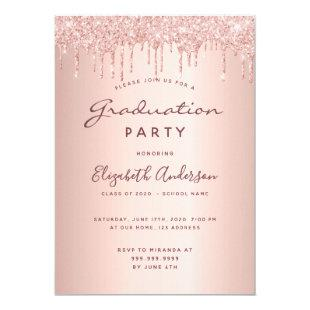 Graduation 2020 party glam rose gold glitter drips invitation