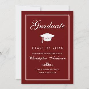 Graduation 2020 White Grad Cap and Script on Red Announcement