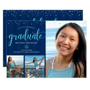 Graduation 3 photo collage modern turquoise script invitation