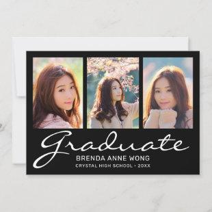 Graduation 3 Photo Collage White Script Black Announcement
